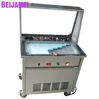 BEIJAMEI Commercial Single Square Pan Thailand Ice Cream Making 110v 220v Fry Fried Ice Cream Roll Machine Price