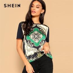 SHEIN Retro Multicolor Scarf Print Mixed Media Top Round Neck Short Sleeve Tee Tshirt Women Summer Streetwear Vintage T-shirts 1