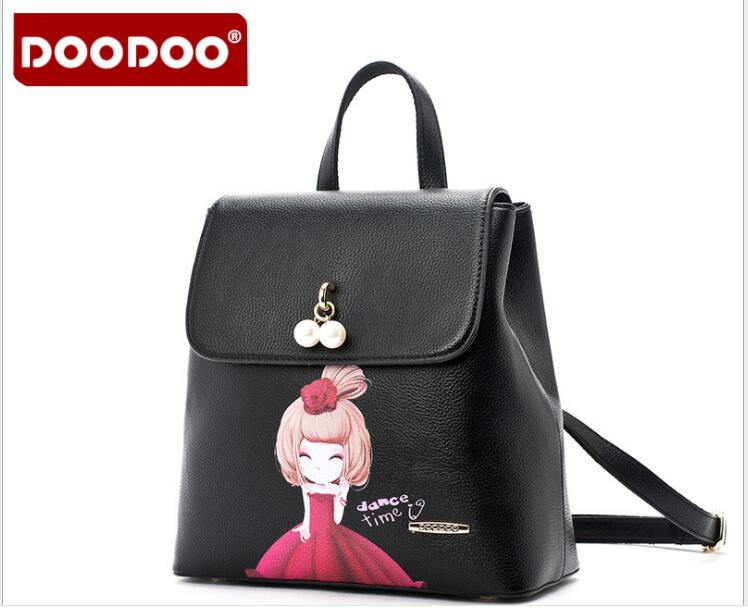DOODOO Preppy Style pu leather backpack women small backpacks for teenage girls mochilas mujer back pack