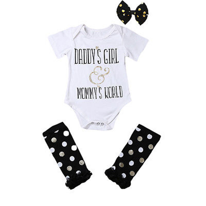 fb1141c14a867 Summer New Casual Newborn Baby Girls Romper DADYS GIRL Letter Jumpsuit  Outfits Black Dots Leg Warmer+Headband Baby Clothes Set-in Rompers from  Mother ...