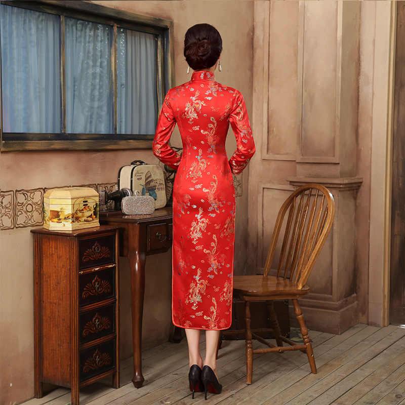 Vestido Qipao rojo de novia chino para fiesta de boda, vestido Sexy de mujer largo de satén con manga Cheongsam Dragon Phoenix, Vestidos S M L XL XXL