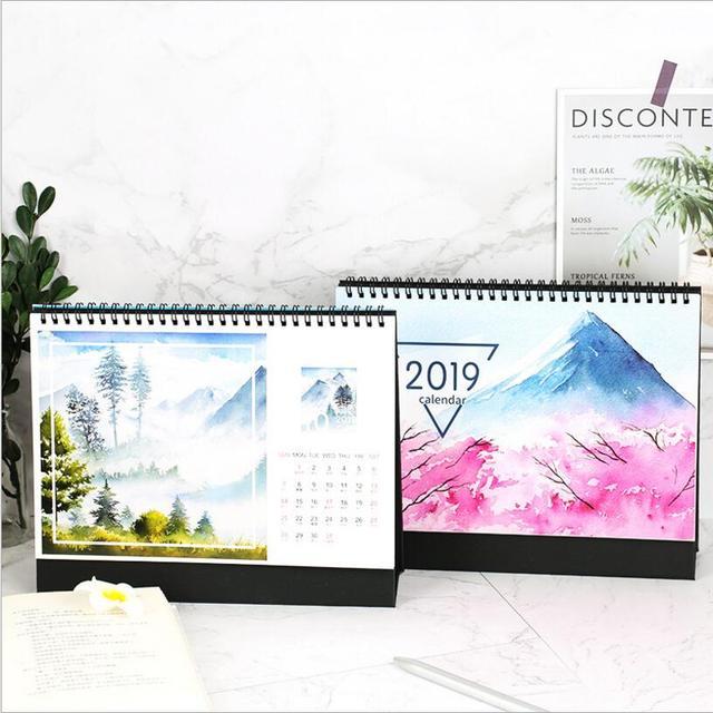 2018 2019 year Large multi function Simple desk calendar Sakura sea - multi year planner