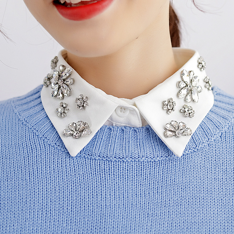 Women Detachable Collars Crystal Diamonds Chiffon Shirt Fake Collar Removable Peto Mujer Chemisier Daily Faux Cols China Garment