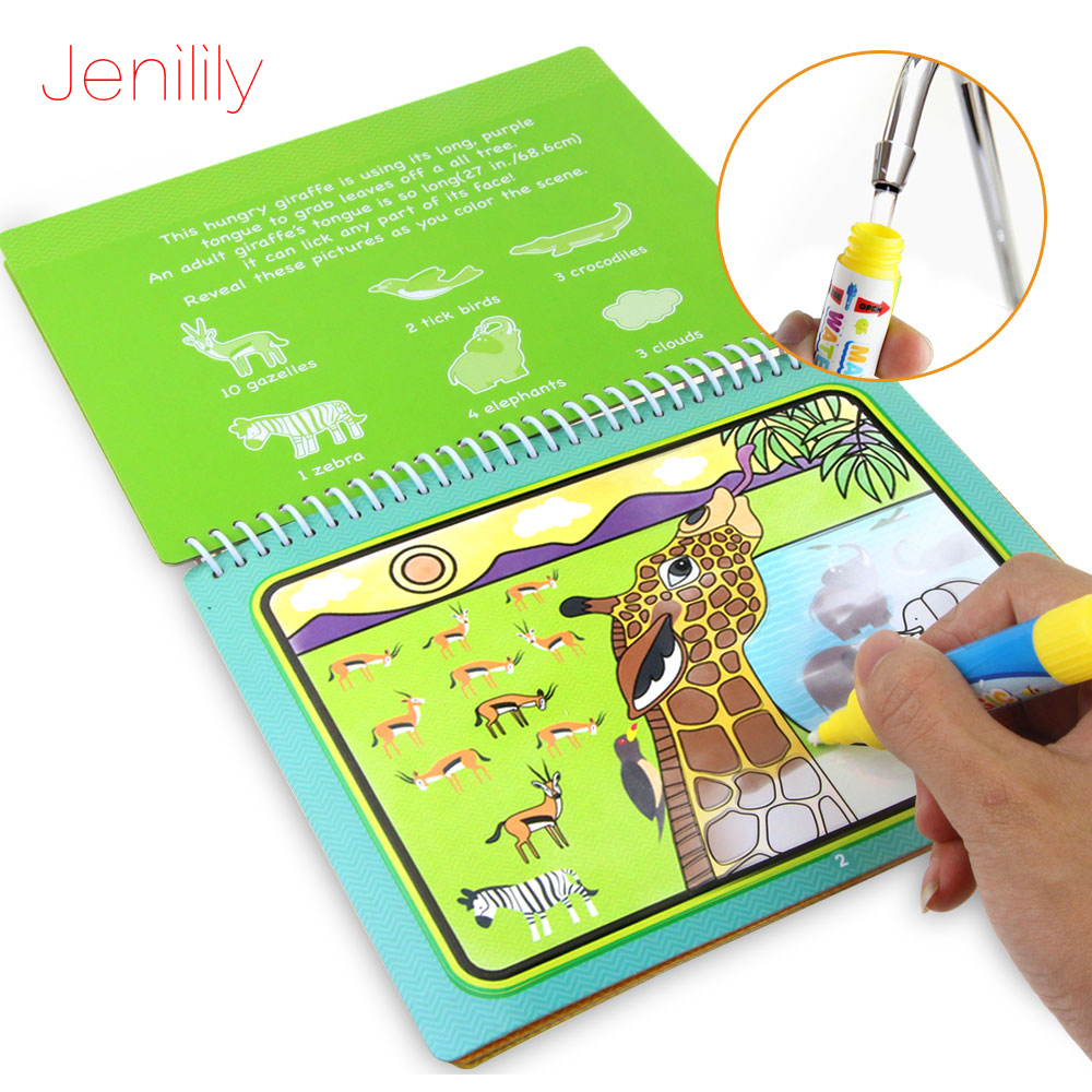 Reusable Magic Water Drawing Book With Pen Coloring Painting Book Drawing Board Juguetes Education Learning Toys For Children