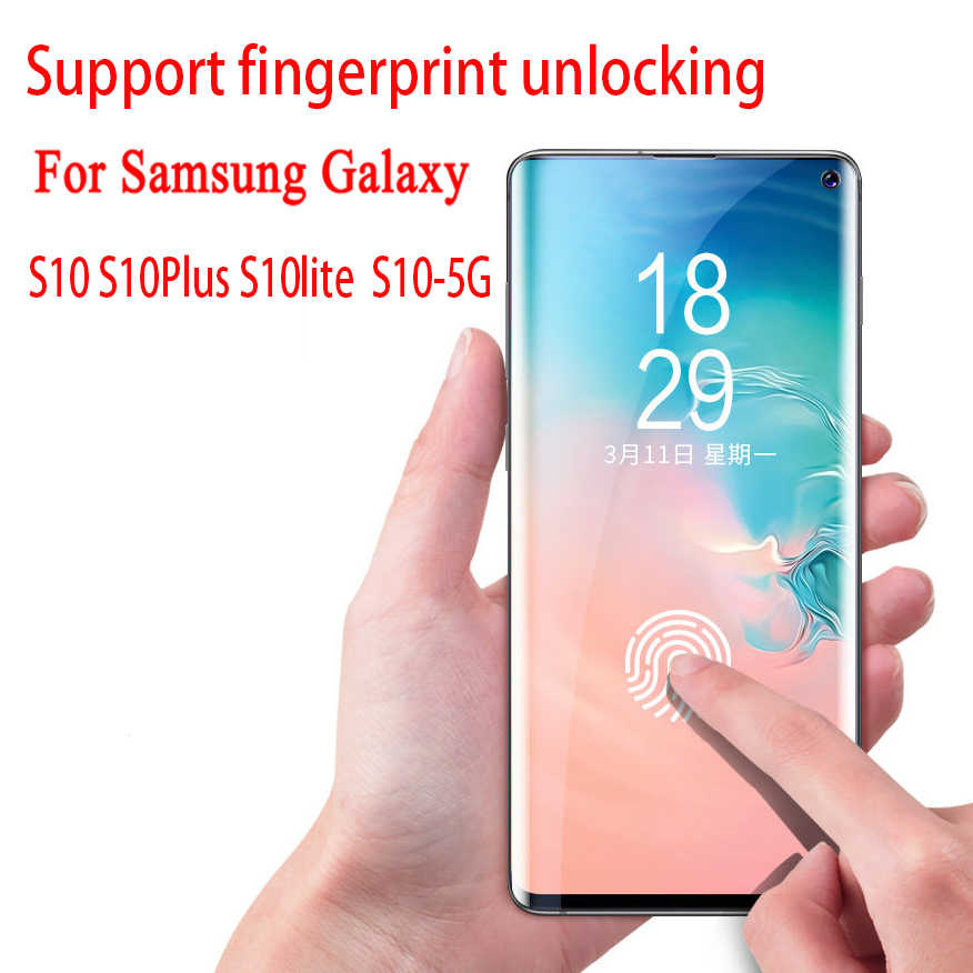 10D كامل غطاء الزجاج المقسى لسامسونج S10 5G S10 زائد واقي للشاشة ل غالاكسي S7 S6 حافة S8 S9 ملاحظة 8 9 طبقة رقيقة واقية
