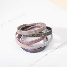 5pcs/lot Rubber Bands For Hair Bright Silk Pink Black 6 Colors Accessorise Women Onaments