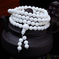 BRO071 Natural Conch Shell Carved Lotus Padma Beaded Bracelets Buddhist 108 Prayer Mediation Malas