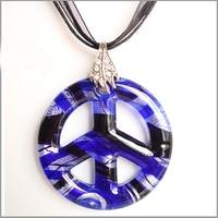 CollectioBP Purple Peace Sign Pendant Necklace Murano Glass Jewelry