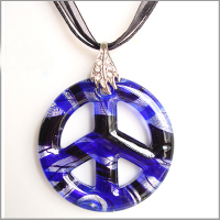CollectioBP Purple Peace Sign Pendant Necklace Murano Glass Jewelry