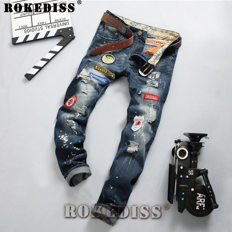 Ripped jeans for men 2017 Spring and Autumn fashion New products Slim Hole street trousers Punk Straight Motorcycle pants C154
