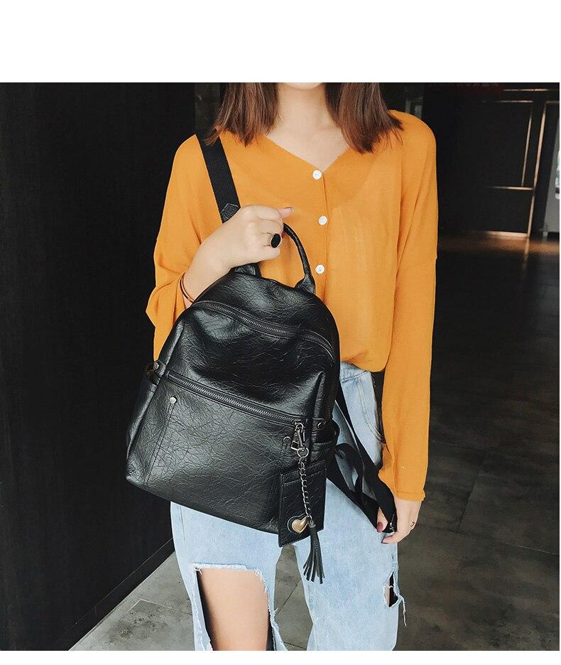 HTB1jt4qcSSD3KVjSZFKq6z10VXaW Women Leather Backpack Teenage Girls School Bag Female Vintage Large Solid Soft Backpacks Mochila Black Back Pack Bags New XA86H