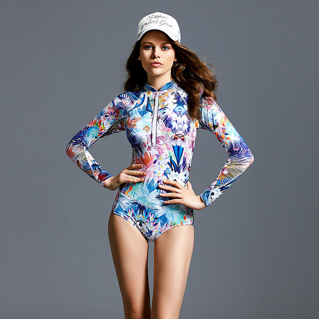 2017 Color Printing Racing Long-sleeved Triangle Conjoined Swimsuit Woman One Piece Swimwear Racing Competition