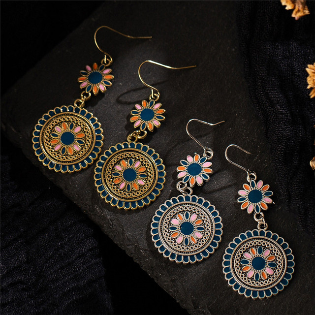 Multi color Boho-Vintage Style Dangle  Earrings