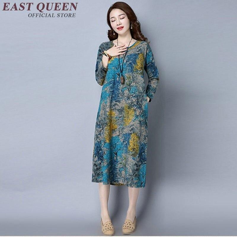 Chinese Traditional Dress Long Sleeve Oriental Dress Women Chinese Oriental Dresses Female Modern Qipao Dress Floral   KK341