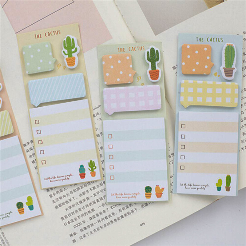 New Cactus Cute Stickers Planner Sticky Notes Stationery Notepad Stickers Memo Pad Bookmark DIY School Office Supplies Kids Gift