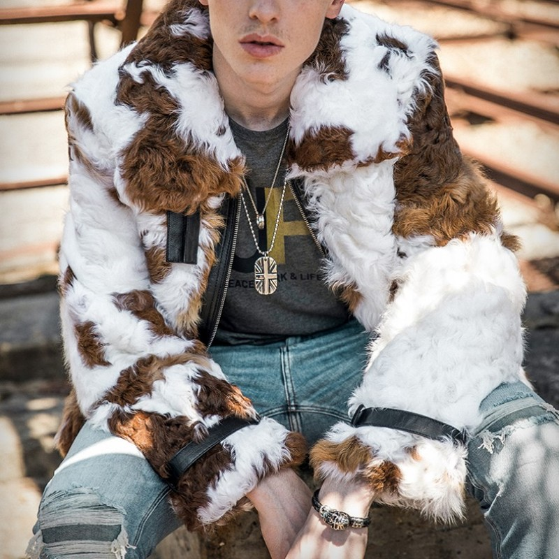 Luxury Mens Runway Natural Sheep Shearling Real Fur Coat Gothic Printed Hip Hop Hairy Wool Aviator Jacket High Street Overcoat