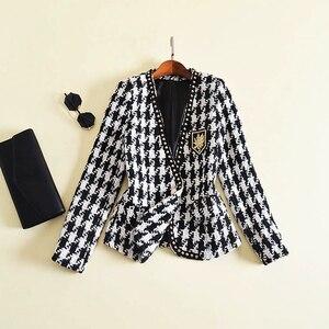 Image 2 - Yüksek sokak yeni moda 2020 tasarımcı ceket kadın tek düğme perçin ekose tüvit yün ceket ceket