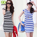 GOPLUS New Spring Summer Fashion Striped Slim Women Dress Casual Women Mini Sundress S M L XL XXL M0928