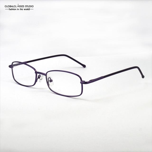 937a7dfc9a3 Rectangular Frame Metal Eyeglasses Women Simple Eyewear Student Spring  Hinge Slim Rim Purple Color Prescription Frame 1119MD