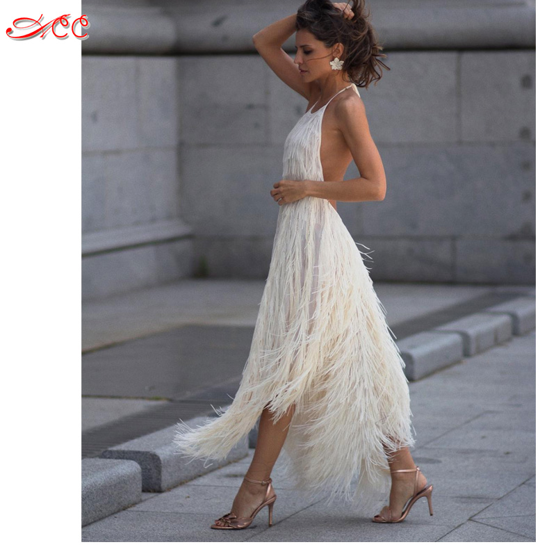 e62042be1b Sexy backless Hang neck fringed dress 2018 super popular new fairy dress  fashion star models 5 color straps tube top dress S XL-in Dresses from  Women s ...