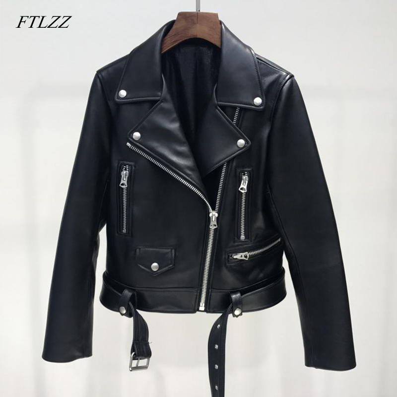 FTLZZ 2019 New Women Casual Soft Faux   Leather   Jackets Lady Belt Pu   Leather   Long Sleeve Motorcycle Coats Streetwear