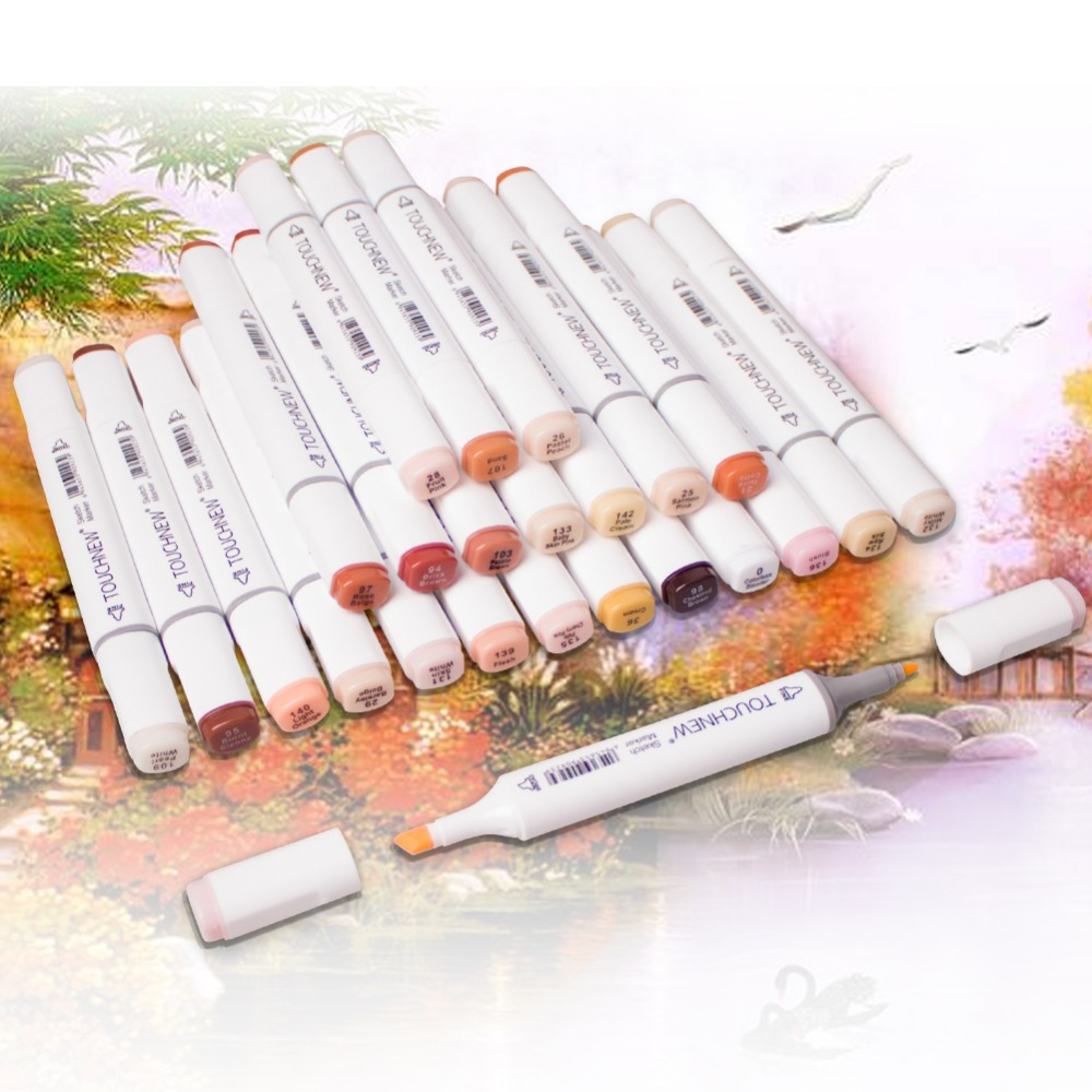TOUCHNEW 24Color Skin Tone Sketch Markers Pen Alcohol Based Markers Dual Head Art for Drawing Manga Pen Office & School Supplies art markers set dual head alcohol sketch copic markers pen for manga drawing markers design supplies