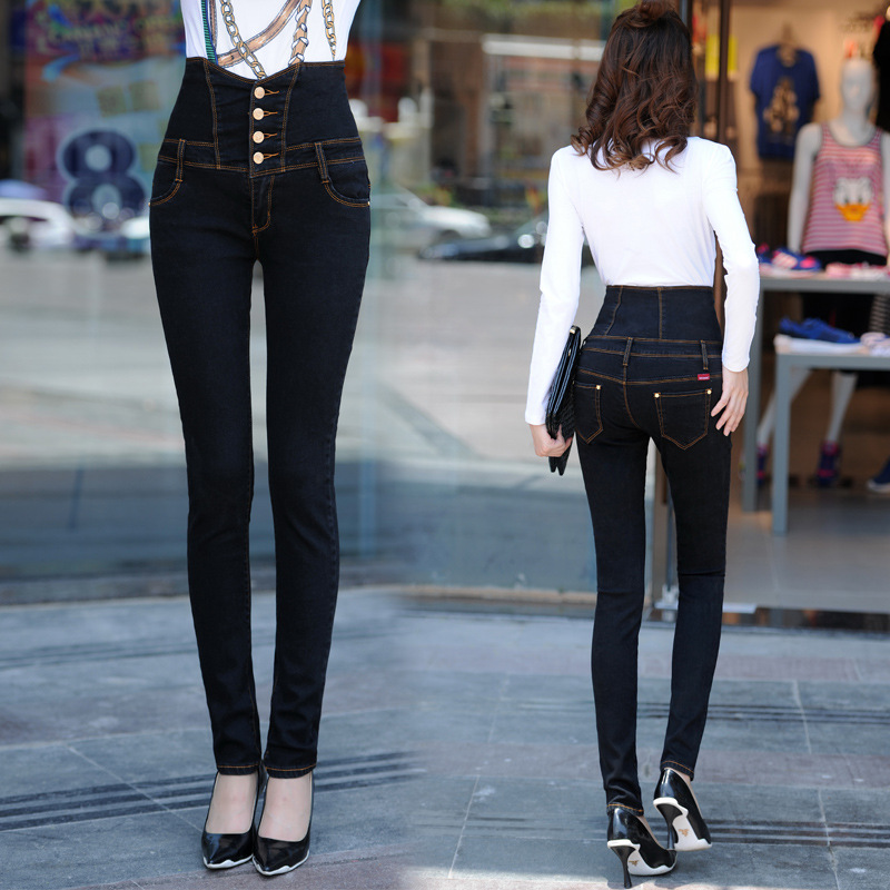 S-4XL big size Girl High waist Jeans women Fashion ripped jeans Female Casual Skinny pencil pants Elastic Black distressed jeans