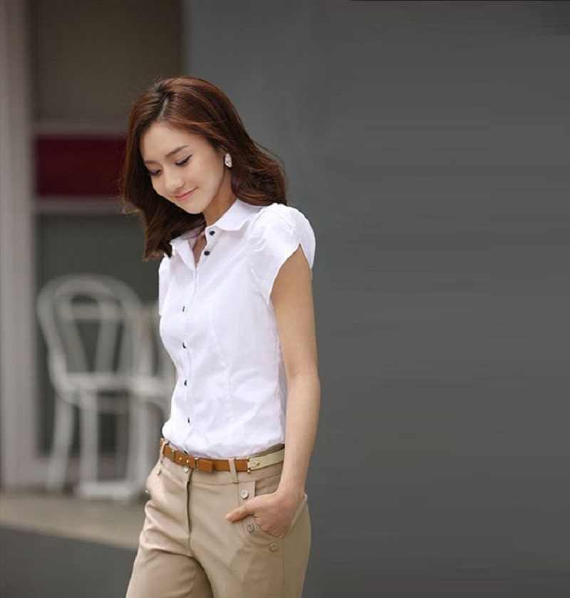 Модная женская шифоновая рубашка с коротким рукавом, с отложным воротником, повседневная женская блуза, большие размеры 5XL, белая блузка