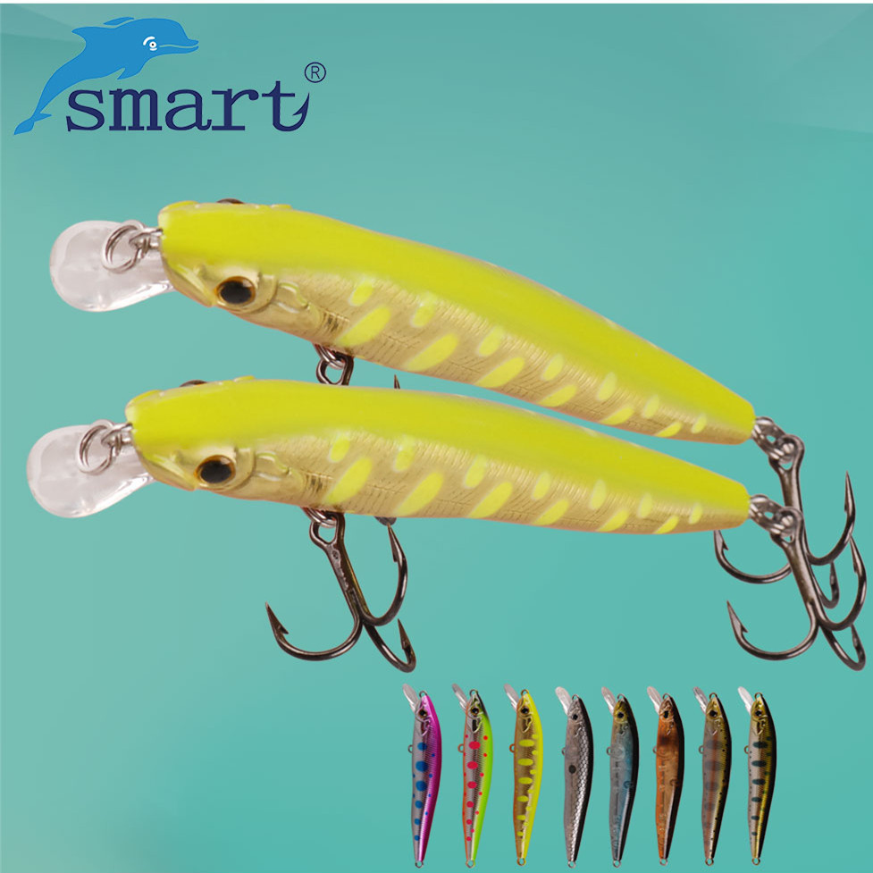 SMART Minnow Bait 65mm4.5g Suspending(2steel column) Fishing Lure VMC Hook Isca Artificial Para Pesca Leurre Souple Peche Tackle export prefessional fishing lure minow hard bait 9cm 30g 3 vmc hook laser scale body inside steel balls for every water depth