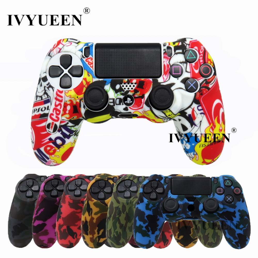 IVYUEEN 18 Farger Silikon Camo Beskyttende Skin Case For Sony Dualshock 4 PS4 DS4 Pro Slim Controller Thumb Sticks Grips Caps