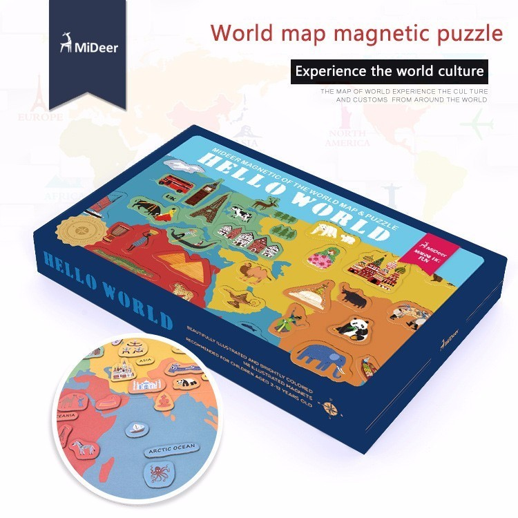 Papier carte du monde puzzle magnétique carte du monde expérience du monde la culture du monde coffret cadeau pour enfants cadeaux d'anniversaire de noël