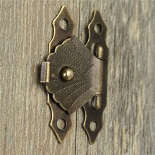 Excellent Quality 12pcs Decorative Antique Brass Mini Jewelry Gift Wine Box Wooden Case Hasp Latch 30x19mm In Stock