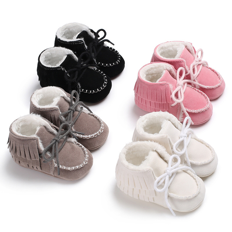 Men And Women Baby Winter First Walker Baby Tassels Tie Children Newborn Baby Children Super Warm Non-slip Baby Shoes