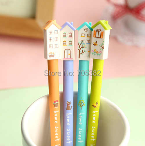 1PC/lot Kawaii house design gel pens  Office supplies Stylo pen for writting (ss-a662)