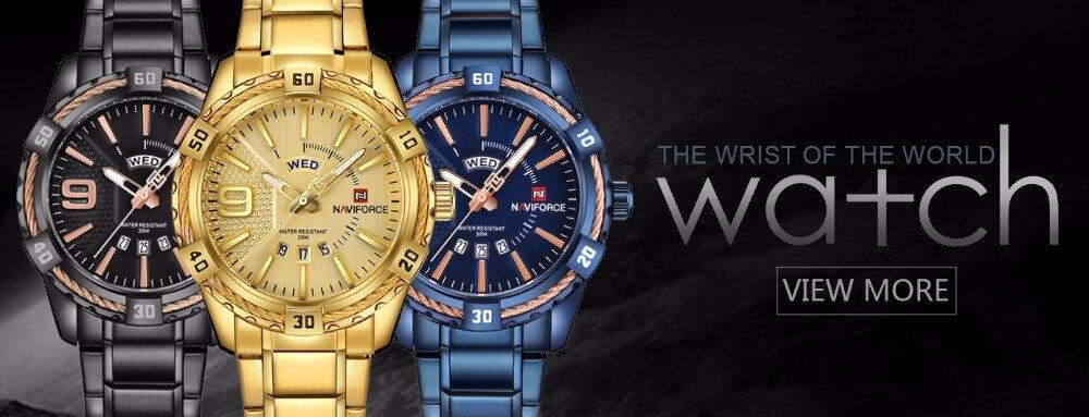 Mens Watches Top Brand Luxury NAVIFORCE Sport Men's Quartz Watch Waterproof Wristwatch Leather Male Clock Relogio Masculino 1