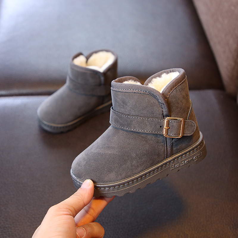 Ulknn Kids Velvet Winter Snow Boots Warm Plush Boys Shoes Girls Ankle Boots Children Non-slip Buckle Gray Shoes School Flat