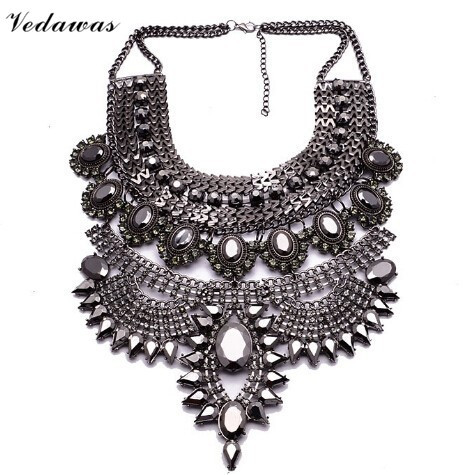 Vedawas Fashion Maxi Necklace Womens Collar Pendant Jewelry Choker Collier Multicolor Rhinestone Metal Statement Necklace XG1556