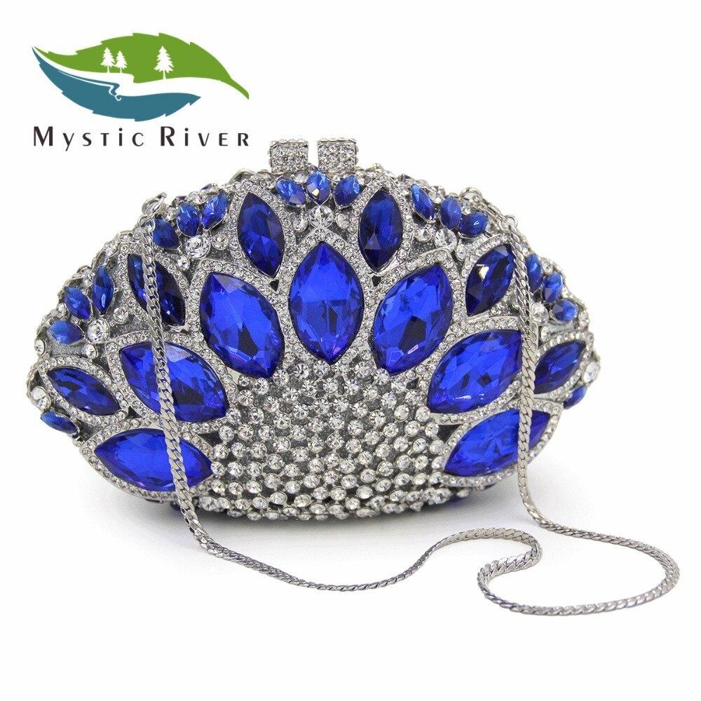 Mystic River Mujeres Bolso de Noche Cristalino de Lujo de la Boda Del Monedero D