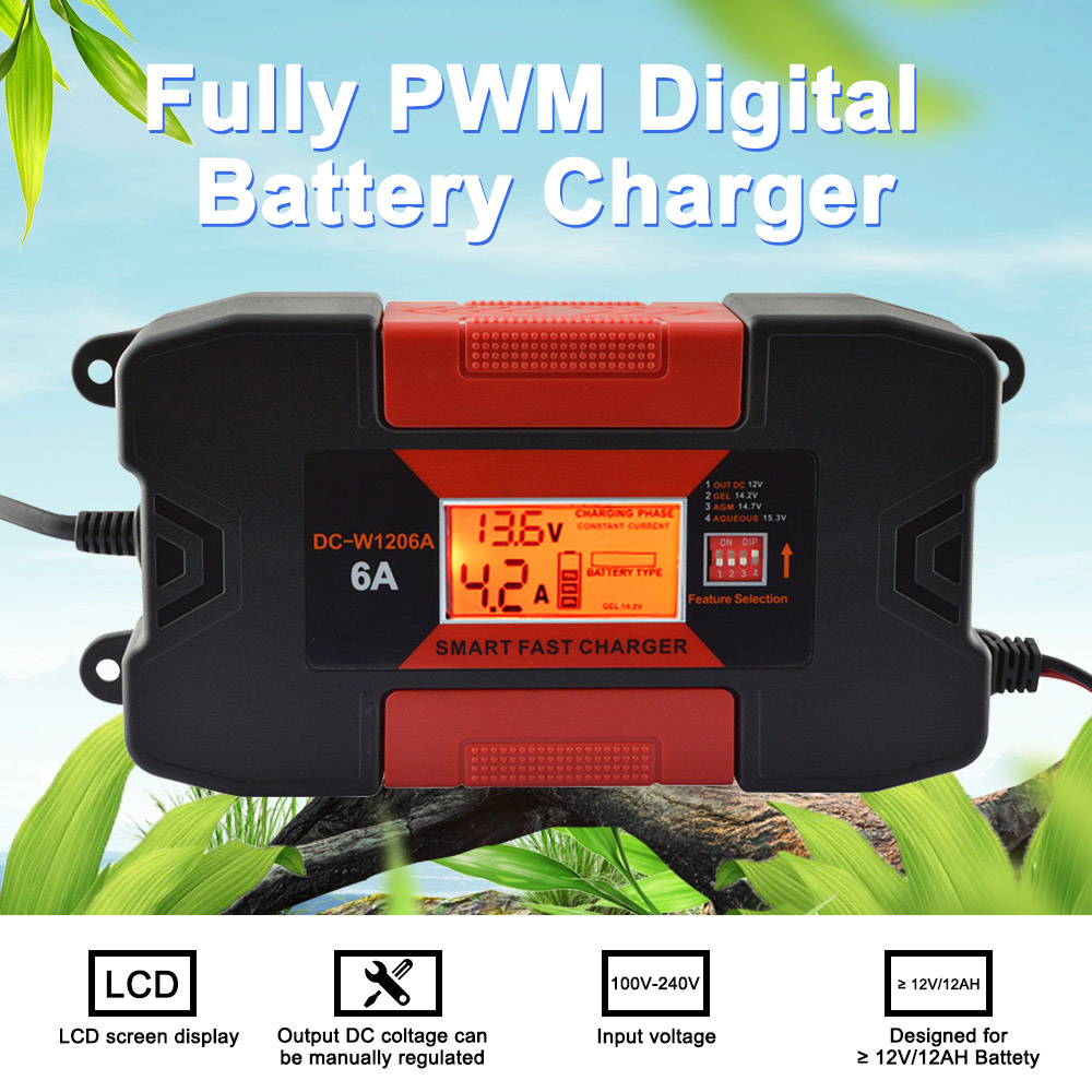4A/6A 12 V Auto cargador de batería de coche inteligente cargador con CE RoHS plenamente PWM cargador de batería Digital