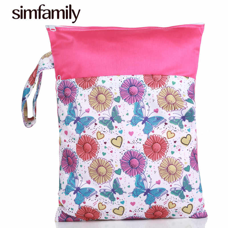 [simfamily]1PC Reusable Water resistant 3Dprinted PUL Bolso Wet Dry Diaper Bag Double Pocket Cloth Handle Wetbags 28x36CM