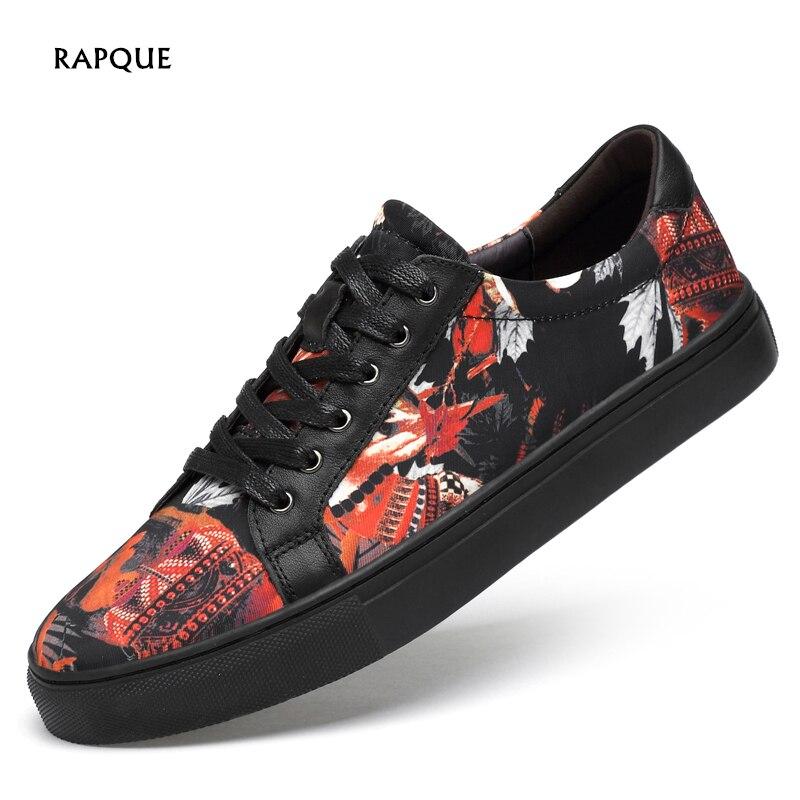Cool hommes chaussures de vulcanité baskets en cuir de vache maille toile hommes chaussures de rue mode graffiti top qualité taille 36-47 RAPQUE