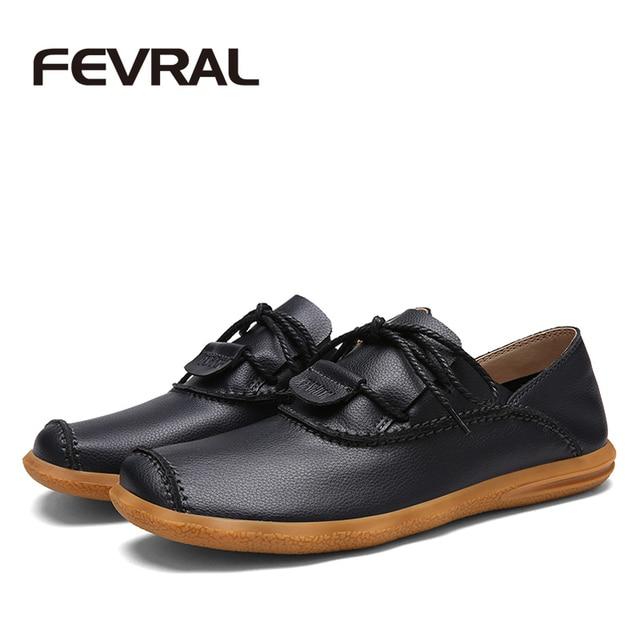 FEVRAL Brand Handmade Autumn Spring Men Shoes Non-Slip 2017 Man Fashion Shoes Breathable Cow Split Leather Men Casual Shoes Men