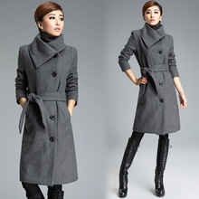 High Quality Ladies Long Grey Coat Fashion Korean Trench Coats Jacket Women Elegant Black Blend Woman Winter Wool Coat With Belt недорго, оригинальная цена