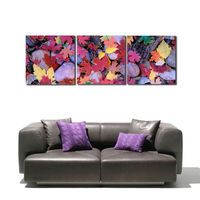 3 Panel Colorful Falling Maple Leaves Stone Picture Oil Canvas Prints Painting for Home Wall Decor