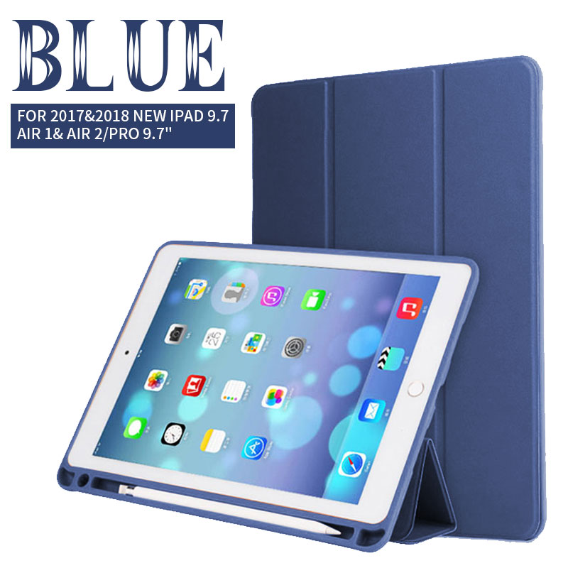 Blue Tablet & E-Books Silicone Case with Pencil Slot and 3-Stand For Ipad Pro 10.5 Pro, 2018 Air 1/2