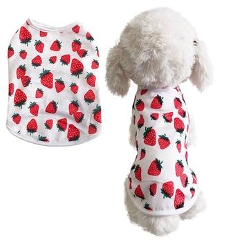 Lato nowy śliczne Strawberry wydrukowano koszulka dla psów ubrania dla zwierząt odzież dla par Pet Cat Dog wiosna i lato kamizelka dla psa Teddy pies s-XXL tanie i dobre opinie Poliester Wiosna lato