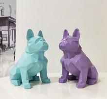 الشمال مجردة هندسية الراتنج تمثال لكلب الحديثة الحد الأدنى الفرنسية البلدغ النحت الحيوانية تمثال زخرفة الزينة الحرفية