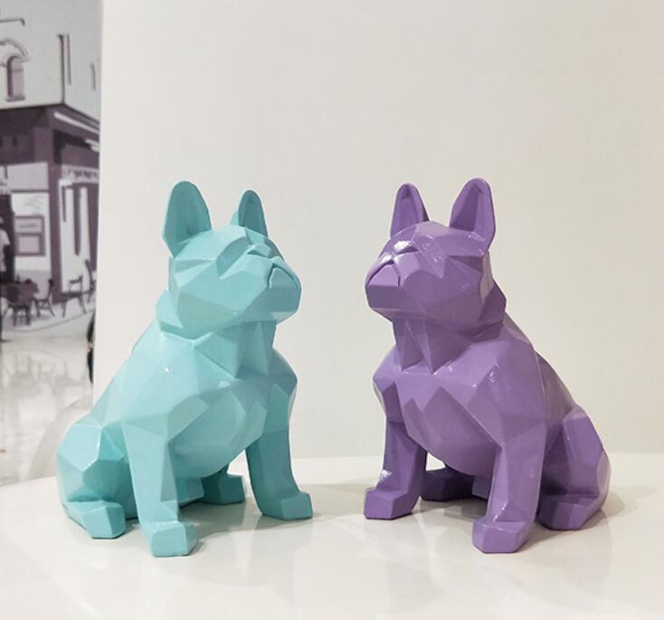 Nordique abstrait géométrique résine chien statue moderne minimaliste Français bouledogue sculpture animaux statue ornement artisanat Décorations