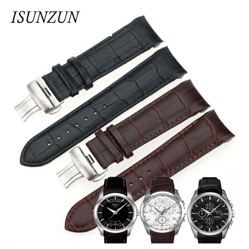 ISUNZUN Men's Watch Bands For Tissot T035 1853 Genuine Leather Watch Strap T035627A Brand Watchbands 22MM Men Watch Band rosa лира white