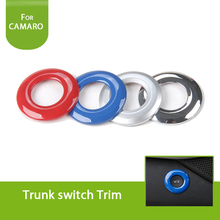 1Pcs Red/Blue/Chrome/Silver Rear Trunk Button Frame Outlet Ring Bezel Decoration Trim Cover Sticker For Chevrolet Camaro 2017+